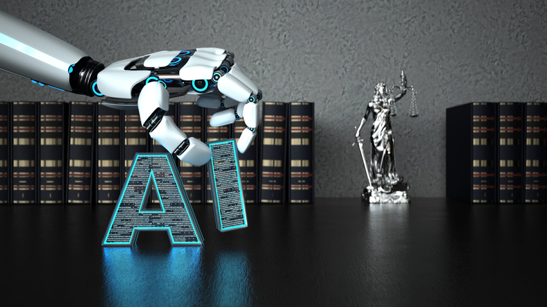 A robot hand with the letter AI and a lady justice statue on the wooden table with law books. 3d illustration.